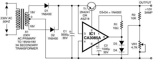 12v    3a regulated power supply circuit by ic ca3085
