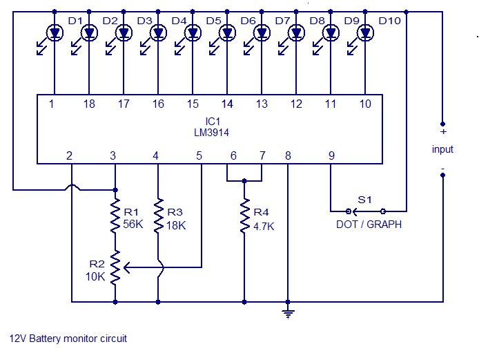12V Battery Level Indicator Circuit using LM3914 IC