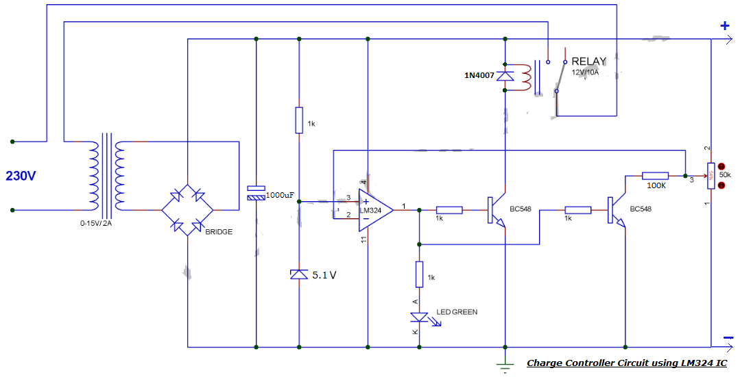Battery Charge controller Circuit by LM324 Comparator IC
