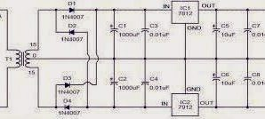 DC 12 VOLTS POWER SUPPLY CIRCUIT USING 78012 IC