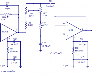 Low Pass Filter Circuit using Op-amp TL062 for Subwoofer Pre Amp