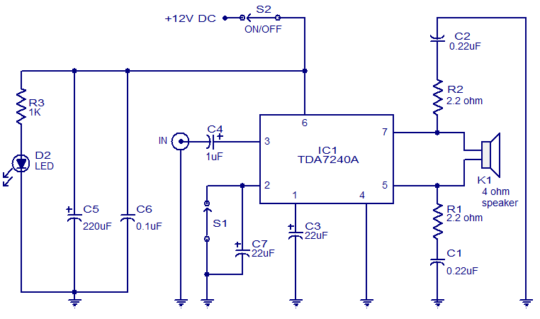 TDA7240 IC Stereo 20W Amplifier Circuit