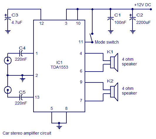 Astonishing Car Stereo Audio Amplifier Circuit Using Tda1553 Ic Circuits99 Wiring Digital Resources Aeocykbiperorg