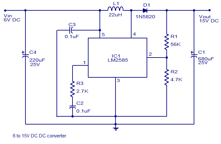 6 to 15V DC to DC converter using LM2585