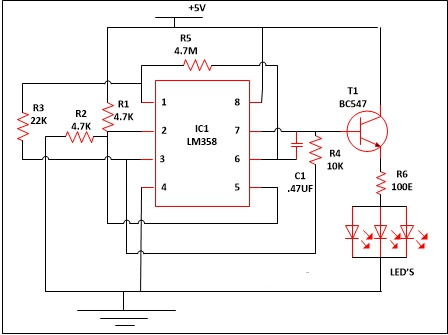 LED Lamp Dimmer Project Circuit Diagram