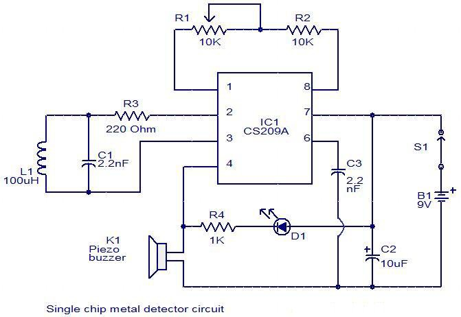 simple single chip metal detector circuit