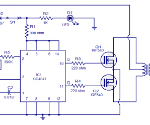 100 Watt Inverter Circuit using IC CD4047 and MOSFET