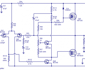 50 Watts MOSFET Amplifier Circuit diagram.