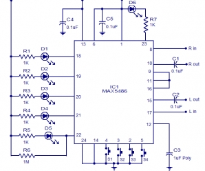 Two Channel digital volume control circuit based on IC MAX5486
