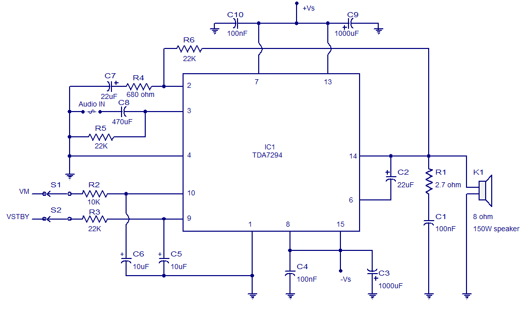 tda7294 ic 100w audio amplifier circuit diagram