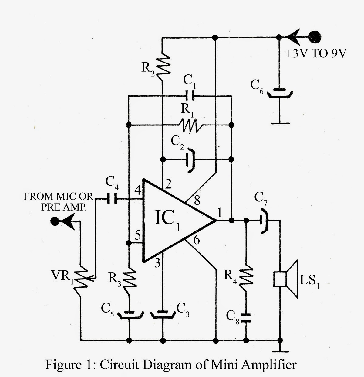Mini Amplifier Circuit By Tda2822m Ic Circuits99 Fire Alarm Using Thermistor 038 Ne555
