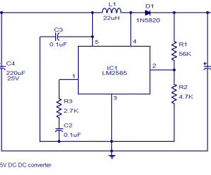 6 to 15V DC to DC converter Circuit using LM2585 IC