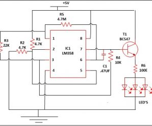 LM358 IC LED Lamp Dimmer Project Circuit Diagram