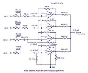 Multi-channel audio mixer circuit using LM3900 IC
